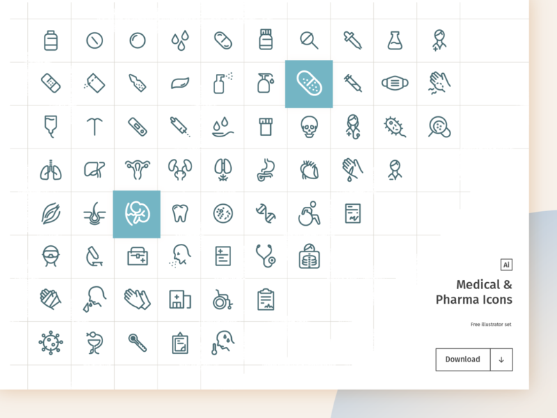 Medical & Pharma Free Icon Set virus coronavirus outlined freebie free equipment organs mask flat  design illustrator vector ui medicine body medical pharma flat design health icon design