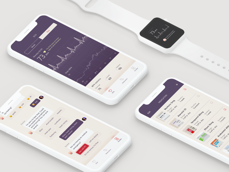 ECG App & Wearable - concept design mobile app bpm hints ecg delicate purple mauve violet heart iwatch list data chatbot chat app wearable equipment flat design health body