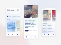 Science Journal app - concept design search tabbar app blurred background article podcast delicate light knowledgebase research review reading science nature health gradients ios user interface mobile app concept design