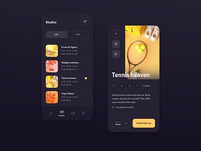 Gym booking - concept design light mode dark mode favorites tennis icon design pastel menu details page listing booking dark gym app sport flat design mobile app concept design