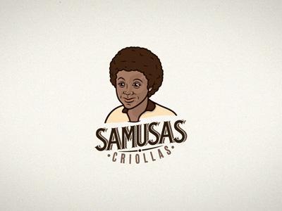 SAMUSAS Criollas samusas empany food girl logotype branding people