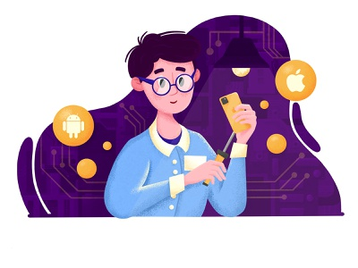 Phone repair web illustration
