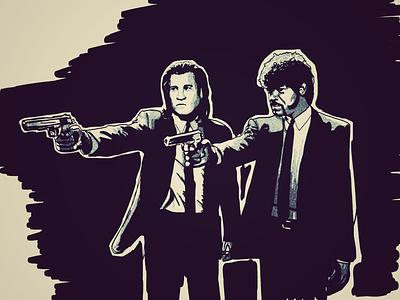 La marche des vertueux film geek cult gun travolta illustrator draw drawing quentin pulp pulp fiction pulpfiction l.jackson tarentino movie