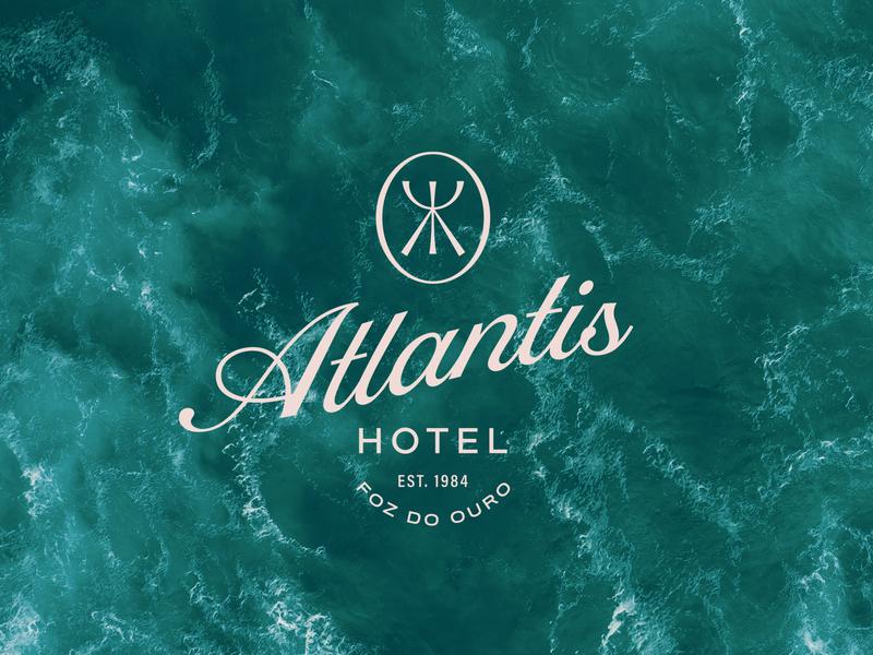 Atlantis Hotel hotels travel ocean sea atlantis hotel brand design brand logo design brand identity typography type icon flat logo branding vector design