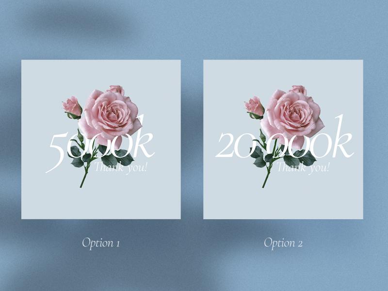 Options post social media kit violin followers follow color flower rose