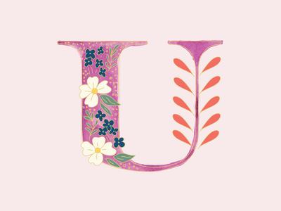 U - 36 Days of Type branding letterform 36daysoftype typography art feminine design watercolor typography design vector illustration