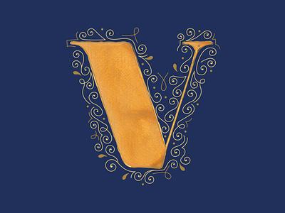 V - 36 Days of Type clean letterform 36daysoftype typography art feminine design typography watercolor design vector illustration