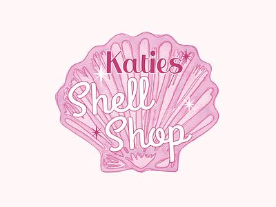 Katies Shell Shop clean feminine design logo design watercolor logodesign logo nautical shell color design vector illustration