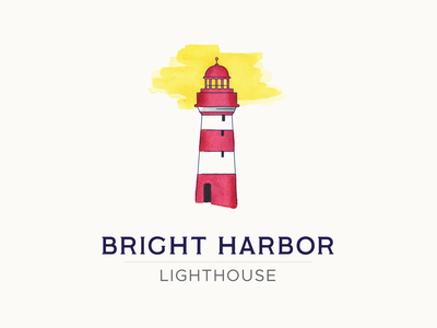 Bright Harbor | Lighthouse Logo clean color branding dailylogochallenge watercolor logo logo design design vector illustration
