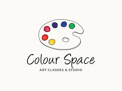 Color Space | Paint Palette watercolor logo design design vector illustration