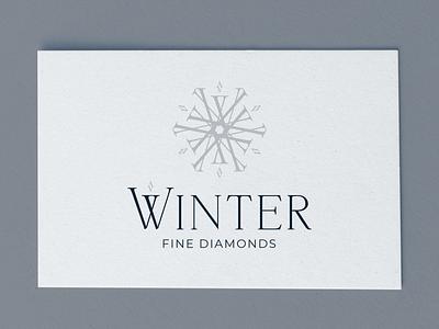 Winter | Fine Diamonds Logo letterform typography art clean typography logo logo design branding design vector illustration