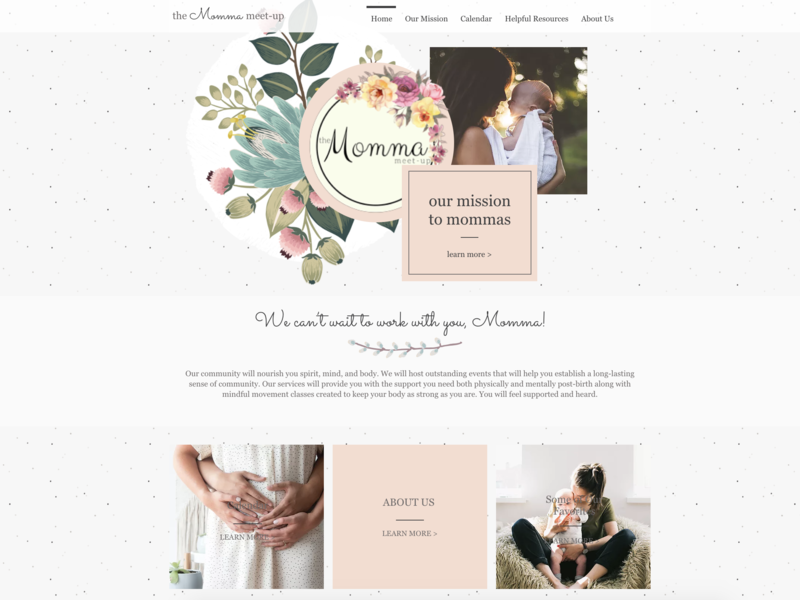 Momma To Be - Above The Fold Study web wix mommy feminine design