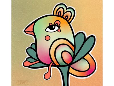 Birb flower watercolour illustrator illustration procreate digitalart bird birb
