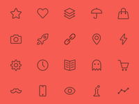 Icons for a new app icons line icons