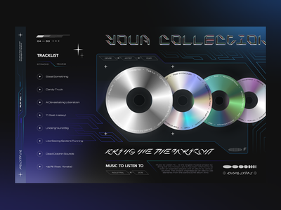 Music Player productdesign app uiux player ui visual design aesthetics futuristic chrometype cyberpunk cd musicplayer musicapp music ui app design fireartstudio fireart