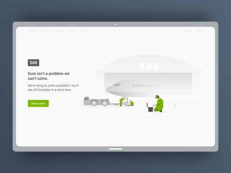 Flight 500 Error Page web site sketch ui 500 error flight app
