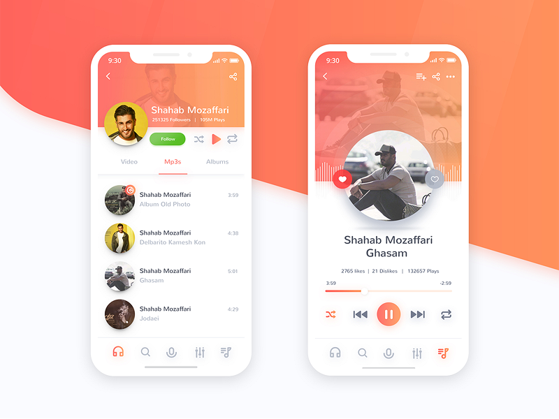 App Music wave sound iphone application ux player interface ui music app