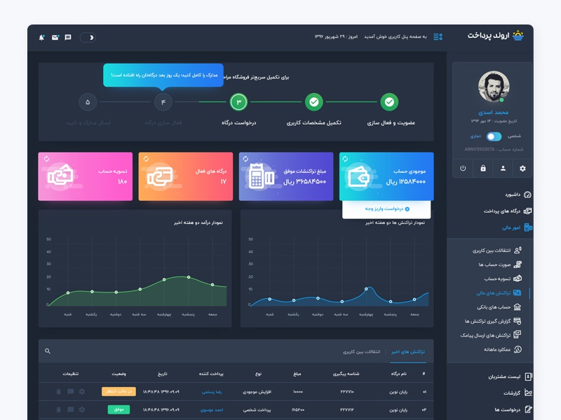 Arvand Pay dark ux ui user interface payment dashboard arvand pay