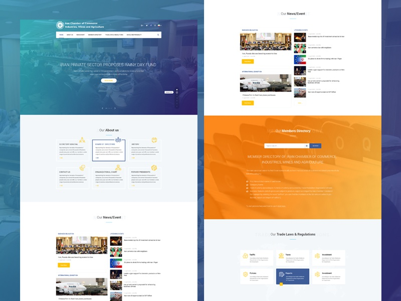 Iccima theme iran chamber commerce industries ux ui iccima