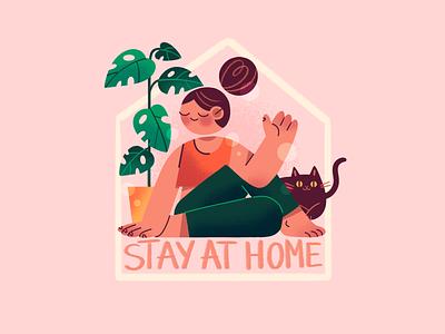Stay at home plant selfcare home cat texture quarantine staysafe stayhome explainer flat illustration digital girl illustration