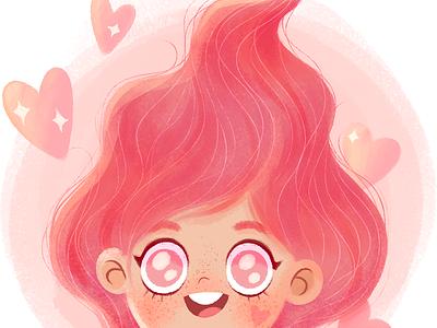 Pink Girl happy cute art pink love concept photoshop digital art character design illustration girl