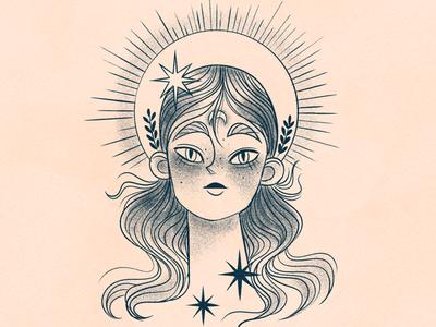 Lady of the dawn digital art portrait book god woman texture photoshop concept vintage character design illustration