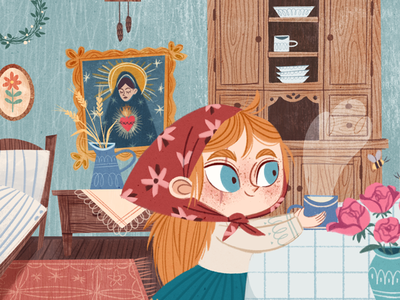 Ylenia house room children book vintage kids book concept photoshop illustration girl character design