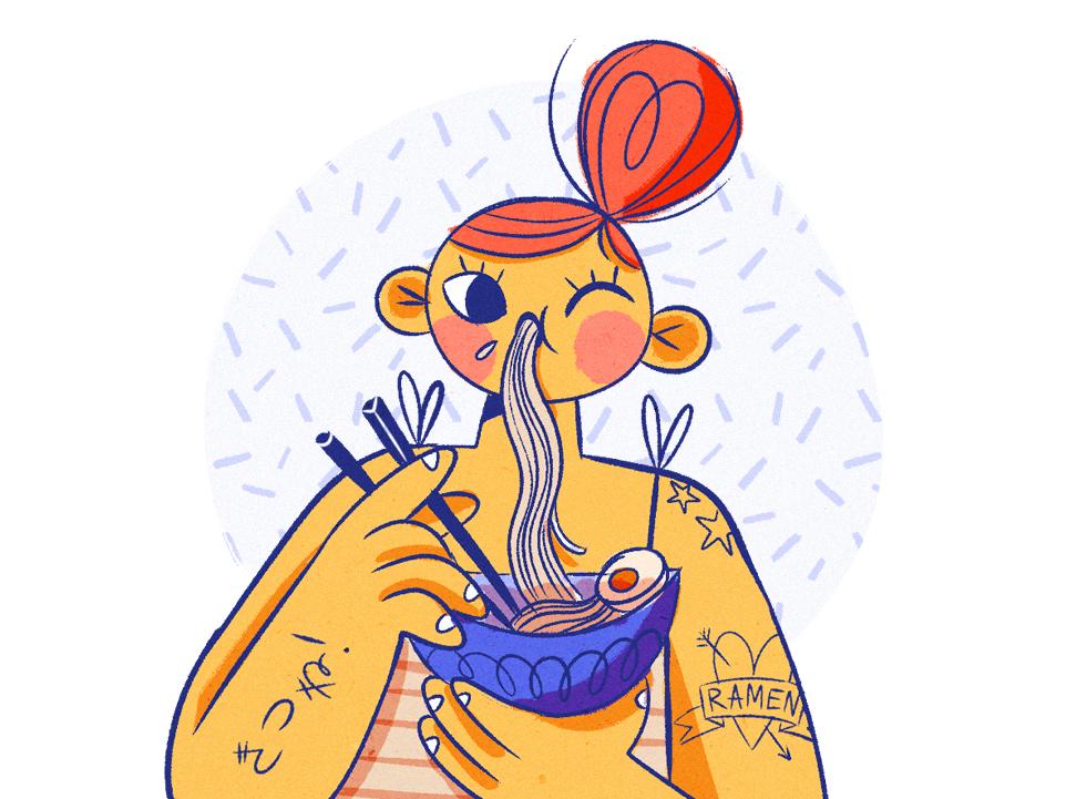 Ramen Girl magazine illustration digitalart doodle tattoo japanese food character design eat ramen girl illustration