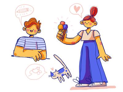 Doodles! concept art love happy icecream cat boy girl doodle character design photoshop art illustration