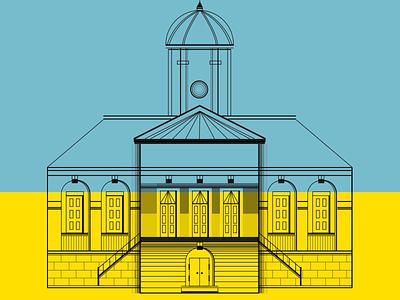 Redbrick Building line illustration wip