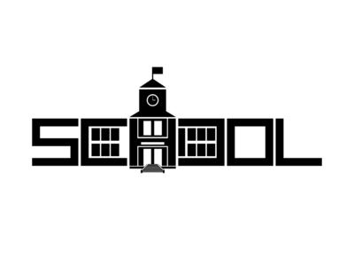 School Negative Space Logo
