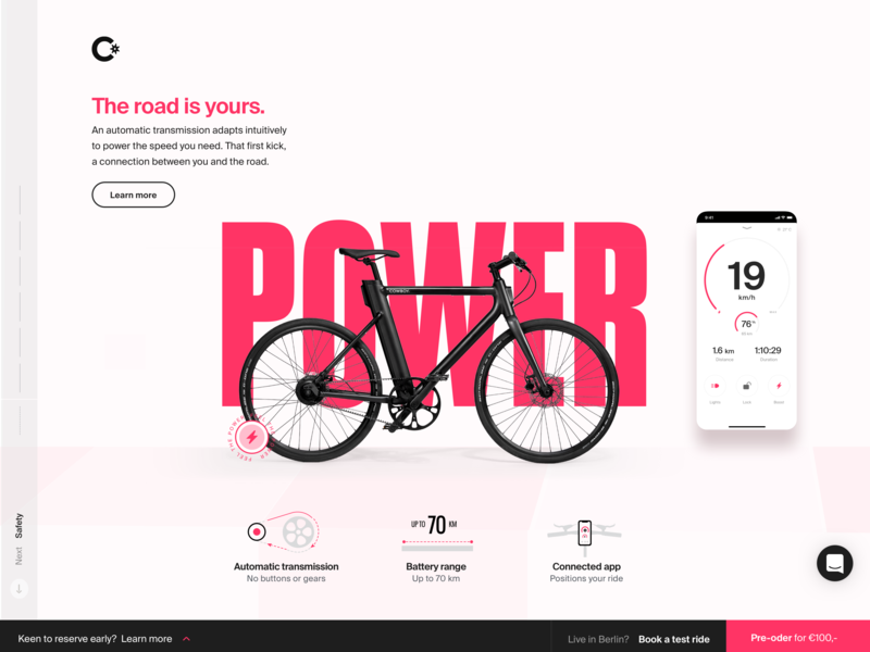 Cowboy -  The Power Story websites fast bike ebike magenta speed power icon design iconograohy 3d user interface branding typography animation digital ux webgl design cowboy electric bike