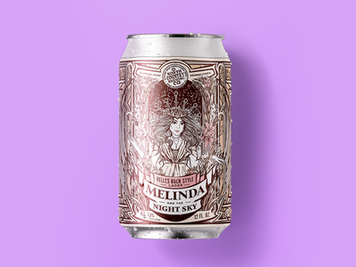 🌙 Melinda and the Night Sky 🌙 Helles Bock Style Lager Illustra graphic design woman leaves sketch procreate illustration pittsburgh north country brewing co melinda and the night sky merch band musician beer label beer can beer