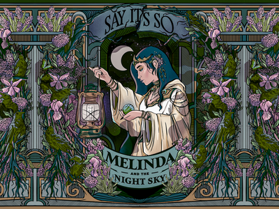 "🌙 Melinda and the Night Sky 🌙 ""Say It's So"" single cover album artwork album cover album melinda and the night sky crow raven smoke goddess occult poster flower portrait graphic design woman leaves sketch daily sketch procreate illustration"