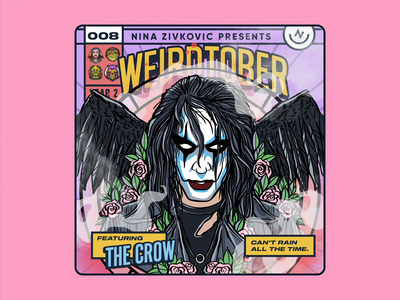 Weirdtober 008/031: The Crow ☔️ eric draven brandon lee comic book art weirdtober crow the crow comic book graphic design sketch daily sketch procreate illustration comic book cover flowers leaves animation