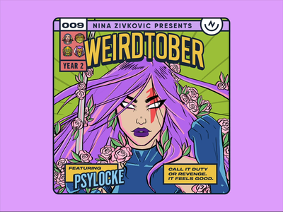 Weirdtober 009/031: Psylocke psylocke comic book art weirdtober marvel x-men xmen avengers comic book graphic design sketch daily sketch procreate illustration comic book cover mcu flowers leaves animation