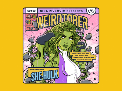 Weirdtober 010/031: She-Hulk she-hulk comic book art weirdtober marvel x-men xmen avengers fantastic four comic book graphic design sketch daily sketch procreate illustration comic book cover mcu flowers leaves animation