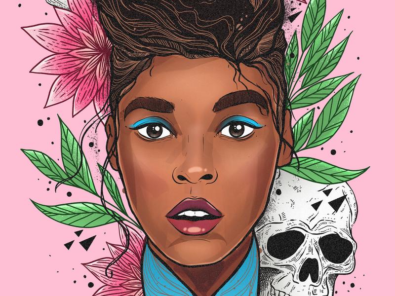Sincerely, Jane: Suite III Pynk Overture artist leaves skull flower portrait line art janelle monae illustration procreate design art