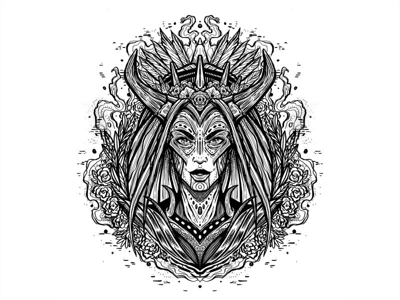 Daily Sketch #5 flower drawing procreate design poster graphic design illustration horns ink pattern leaves woman portrait black and white practice daily sketch daily sketch