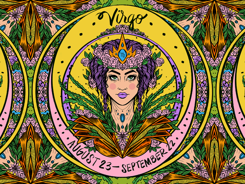 Daily ZODIAC Sketch - #9 - Virgo maiden virgo zodiac zodiac sign astrology horoscope woman portrait flowers leaves art noveau art nouveau pattern earth procreate sketch daily sketch illustration