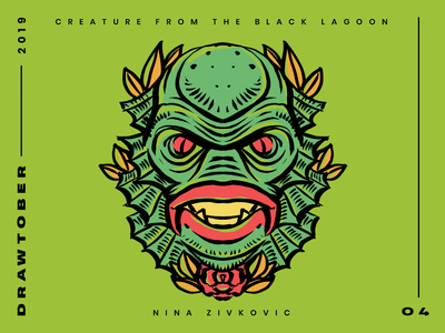 Drawtober: 04 of 31 – Creature of the Black Lagoon