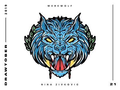 Drawtober: 21 of 31 – Werewolf wolf werewolf moon creature monster sketch procreate monster drawing club inktober illustration dungeon degenerates drawtober drawlloween daily sketch crushtober occult