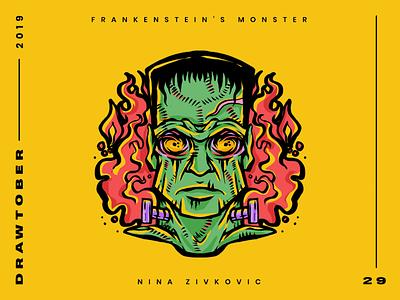 Drawtober: 29 of 31 – Frankenstein's Monster sketch procreate occult monster drawing club monster inktober illustration dungeon degenerates drawtober drawlloween daily sketch crushtober frankenstein