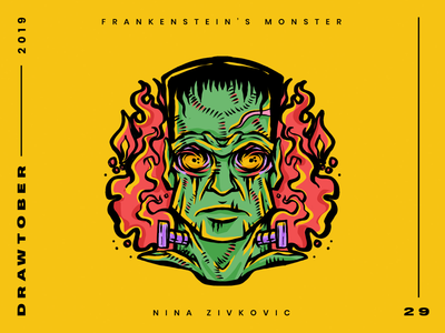 Drawtober: 29 of 31 – Frankenstein's Monster