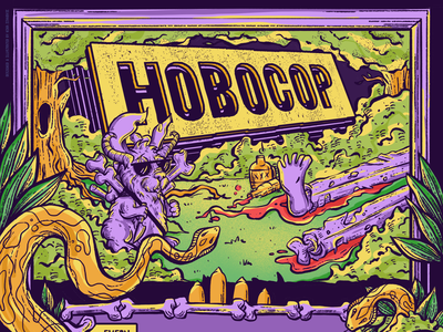 """Hobocop"" • NYC Stand-Up Comedy Show graphic design procreate leaves occult bones trees promo flyer hobocop rabbit skull snake standup comedy weird creature freelance badass illustration"