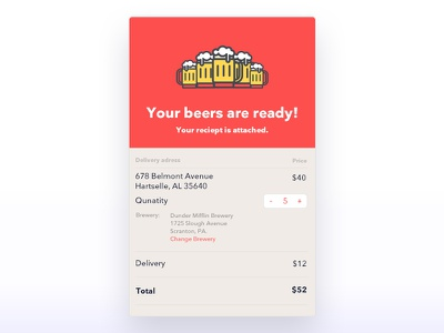Email recipt dailychallenge items recipt email beer userinterface ux ui dailyui