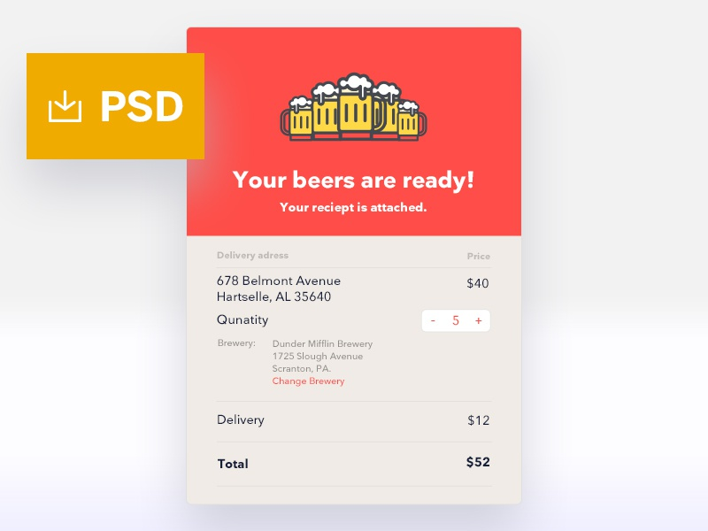 #TBT Email receipt free psd dailychallenge items recipt email beer userinterface ux ui dailyui