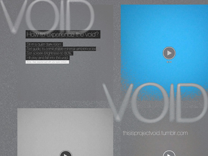 VOID - the space between spaces experiment video tumblr dark ambient light noises