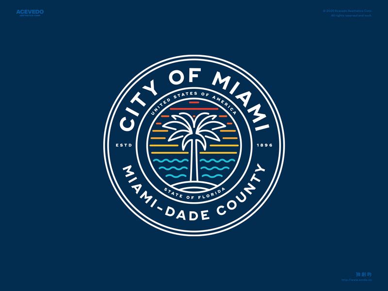 City of Miami Seal Redesign retro typography illustration branding tropical ocean usa government seal florida redesign lineart palmtree rebrand logo miami