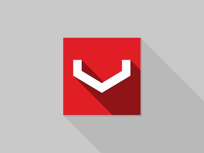 V Flat flat icon shadow design square red
